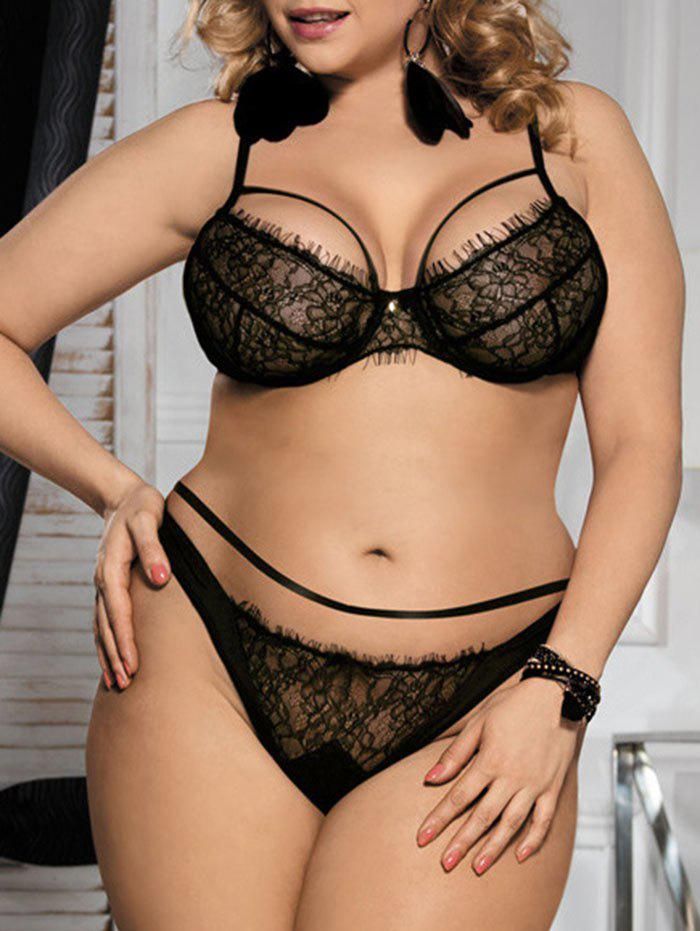 Plus Size Lace Underwire Balcony Bra Set - BLACK 5XL