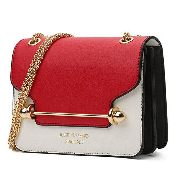 Metal Bar Chain Color Block Crossbody Bag - RED