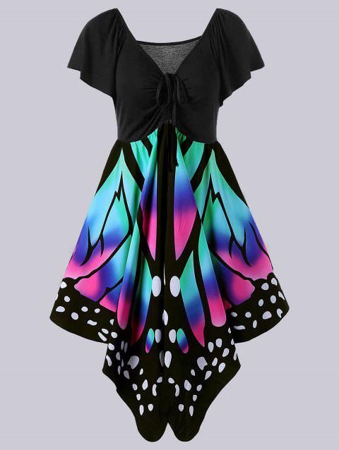 Plus Size Empire Waist Butterfly Print Dress - BLACK/PINK 2XL