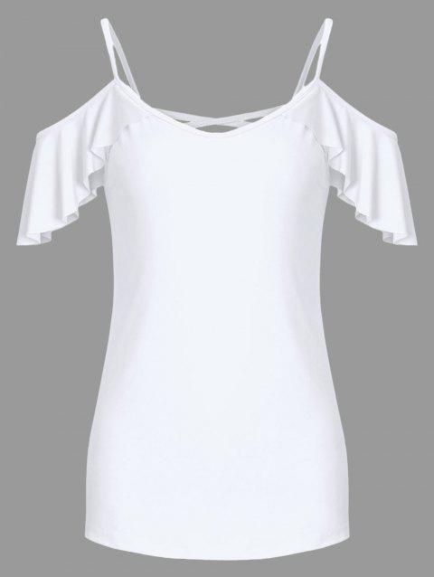 Criss Cross Flounce Cold Shoulder Tee - WHITE S