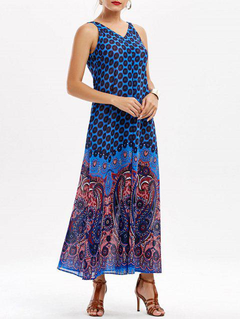 Paisley V Neck Maxi Dress - BLUE 2XL