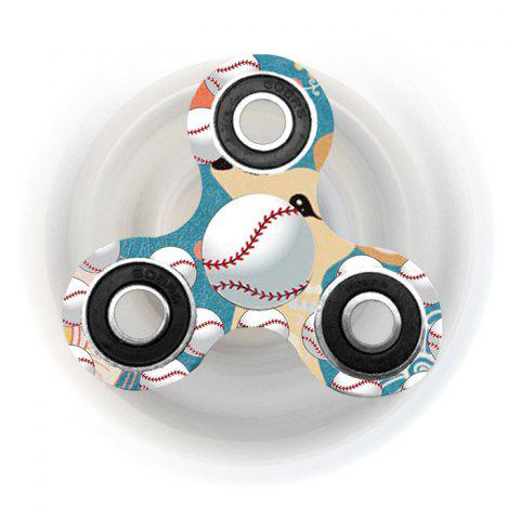 Baseball Patterned Tri-bar Plastic Fidget Spinner - PALOMINO