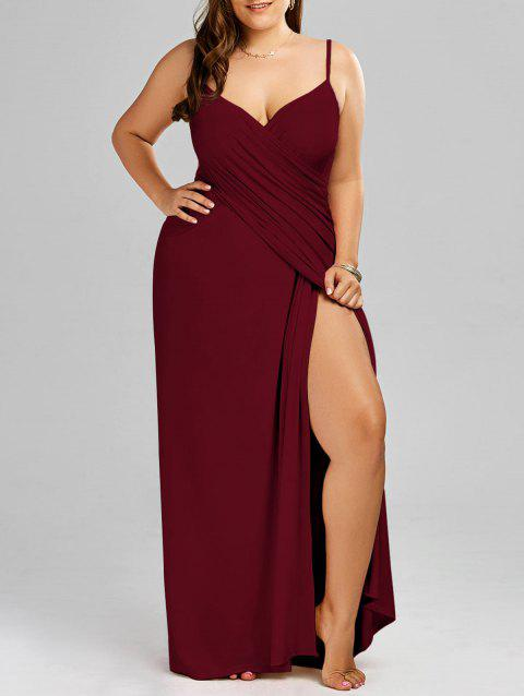 2018 Plus Size Maxi Flowy Beach Cover Up Wrap Dress In Wine Red 3xl
