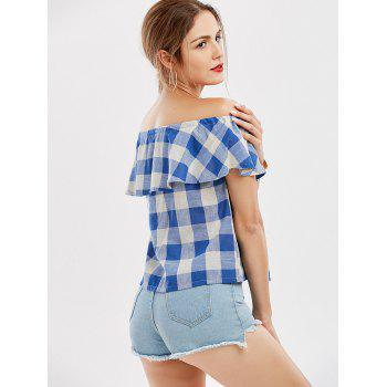 Off The Shoulder Plaid Flounce Blouse - CHECKED M