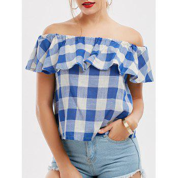 Off The Shoulder Plaid Flounce Blouse - CHECKED XL