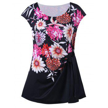 Floral Print Tie Side Plus Size Top