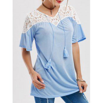 Lace Insert Tassels Tunic Top