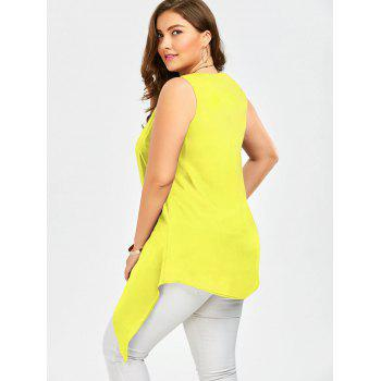 Plus Size Sleeveless Asymmetric Tank Top - YELLOW XL