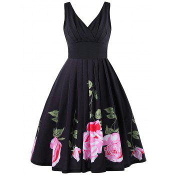 Pleated Vintage Midi Swing Dress