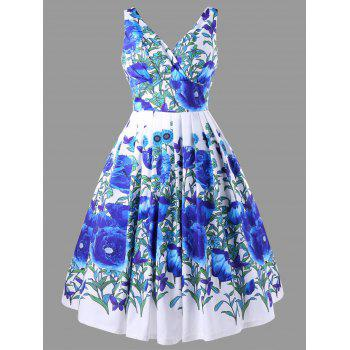 Floral Print High Waisted Swing Dress