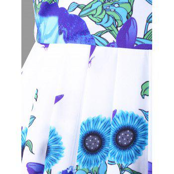 Floral Print High Waisted Swing Dress - BLUE M