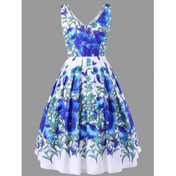 Floral Print High Waisted Swing Dress - BLUE XL