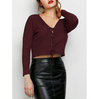 V Neck Lace Up Ribbed Cropped Cardigan