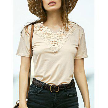 Fashion V-Neck Short Sleeve Lace Spliced T-Shirt For Women