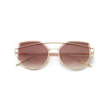 Metal Long Crossbar Cat Eye Sunglasses - TEA COLORED