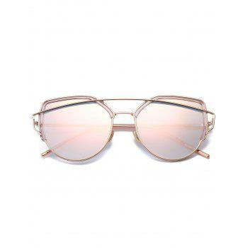 Metal Long Crossbar Cat Eye Sunglasses - PINK