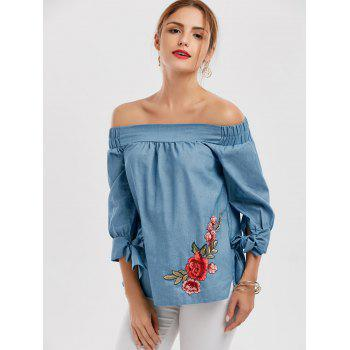 Floral Patchwork Off The Shoulder Blouse - DENIM BLUE S