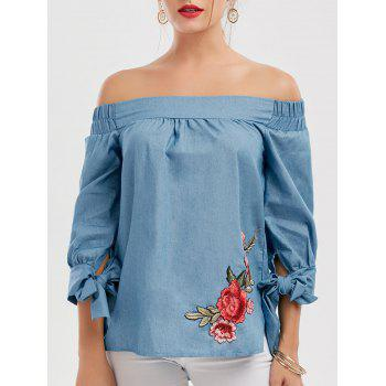 Floral Patchwork Off The Shoulder Blouse