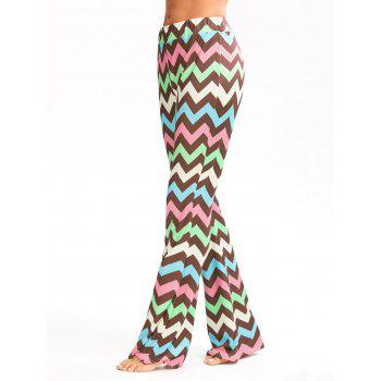 Multicolor Zigzag Printed Flare Pants