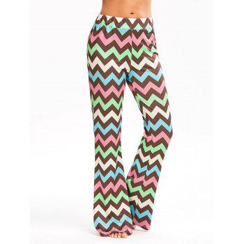 Multicolor Zigzag Printed Flare Pants - COLORMIX 2XL