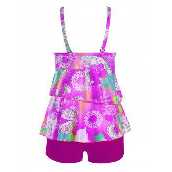 Plus Size Flounce Printed Tankini Set - PURPLE 3XL