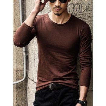 Round Neck Long Sleeve Plain T-Shirt - COFFEE XL