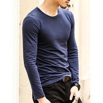 Round Neck Long Sleeve Plain T-Shirt - ROYAL XL