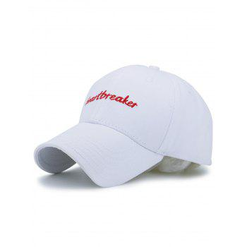 Baseball Hat with Letters Heartbreaket Embroidery - WHITE WHITE