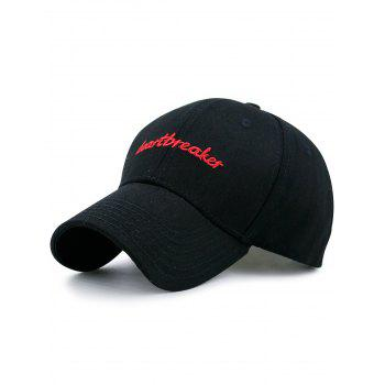 Baseball Hat with Letters Heartbreaket Embroidery - FULL BLACK FULL BLACK
