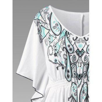 Plus Size V Neck Butterfly Sleeve Graphic Asymmetrical Top - WHITE WHITE