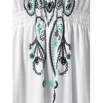 Plus Size V Neck Butterfly Sleeve Graphic Asymmetrical Top - WHITE 4XL