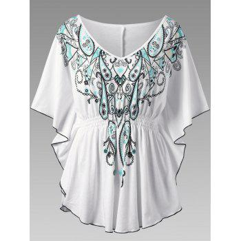 Plus Size V Neck Butterfly Sleeve Graphic Asymmetrical Top - WHITE 5XL
