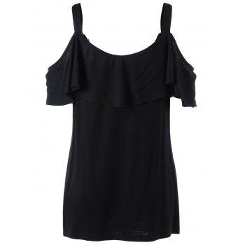 Plus Size Dew Shoulder Overlay T-shirt - BLACK BLACK