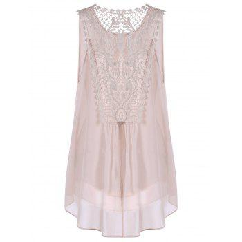 Plus Size Cutwork Chiffon Long Tank Top