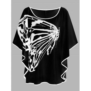 Plus Size Butterfly Print Slit Sleeve T-shirt
