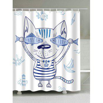 Cartoon Cat Animal Mouldproof Shower Curtain