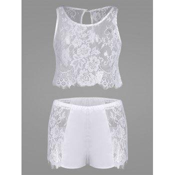 Lace Panel See Thru Pajamas Set