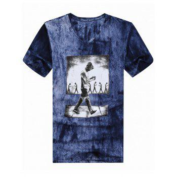 V Neck Printed Tie Dyed Tee