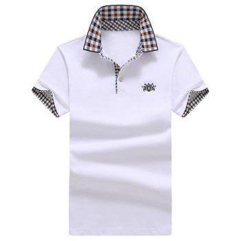 Checked Trim Embroidered Polo Shirt