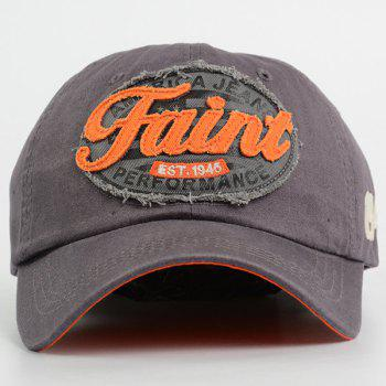 Number Embroidered Letters Patchwork Baseball Hat - GRAY GRAY
