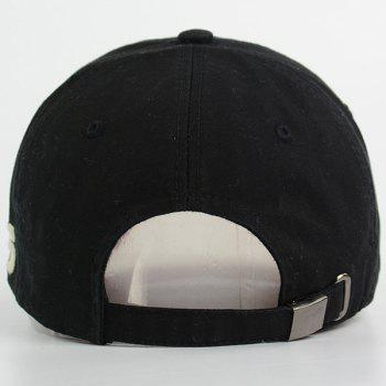 Number Embroidered Letters Patchwork Baseball Hat - FULL BLACK FULL BLACK