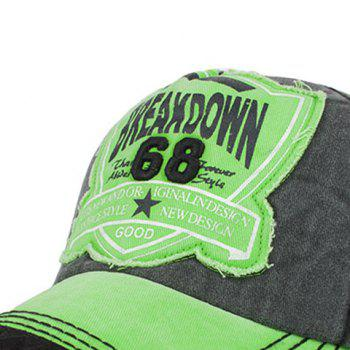 Sanding Nostalgic Washed Letters Patchwork Baseball Hat - GREEN