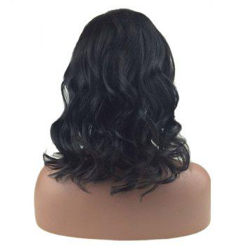 Medium Bob Dyed Perm Side Part Wavy Lace Front Human Hair Wig - BLACK BLACK
