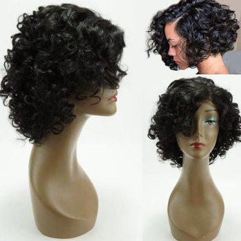 Perm Dyed Short Side Bang Funmi Curly Lace Front Human Hair Wig - BLACK 12INCH