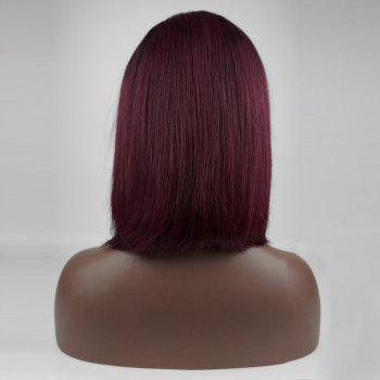 Colormix Side Bang Medium Straight Bob Perruque de cheveux humains - Noir Rouge Ombre BTRED 10INCH