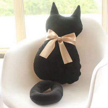 Cartoon Bowknot Cat Doll Cushion Throw Pillow Stuffed Toy - Noir 45CM