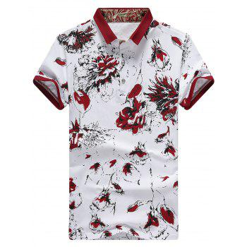 Half Button Floral Print Polo Shirt