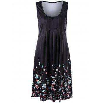 U Neck Floral Sleeveless Knee Length Dress