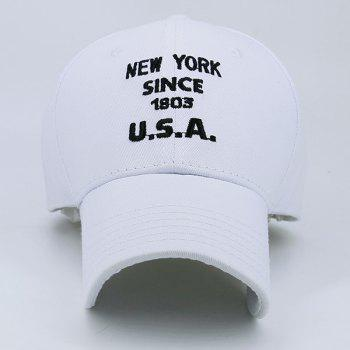 Baseball Cap with Letters Number Embroidery - WHITE