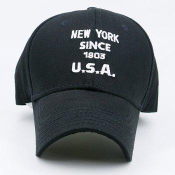 Baseball Cap with Letters Number Embroidery - BLACK